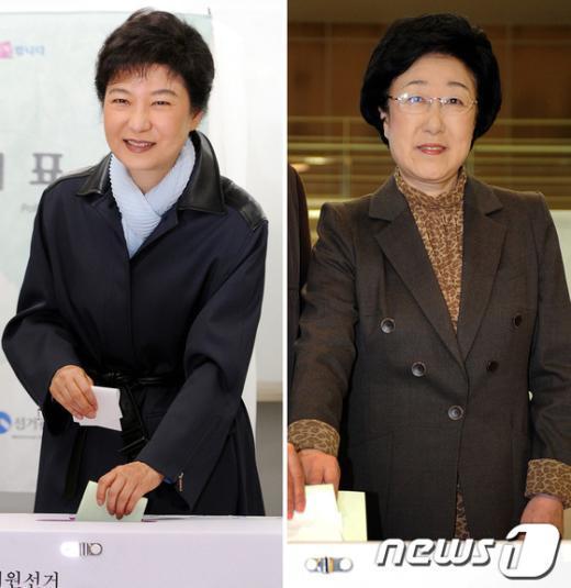 [사진]'운명의 날' 투표하는 박근혜-한명숙