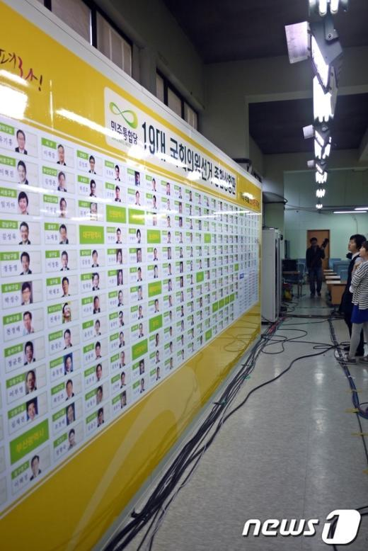 11일 오전 10시 영등포 민주통합당사에는 몇몇 당직자를 제외한 나머지 당원들의 모습은 찾아볼 수 없었다. 두명의 당직자가 선거 종합상황판을 지켜보며 대화를 나누고 있다. News1