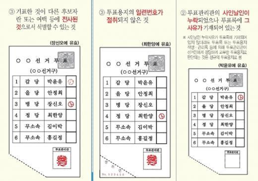 유효표로 인정되는 사례 중 일부 발췌 (자료= 중앙선거관리위원회 유·무효투표 예시도)