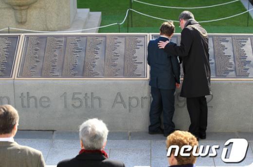 타이타닉호 사망자들의 이름이 새겨진 기념물. AFP=News1