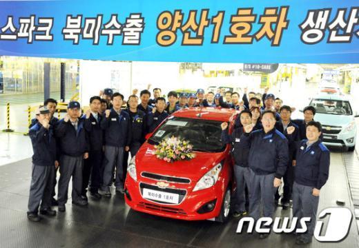 [사진]한국지엠, 스파크 북미수출 양산1호차 생산
