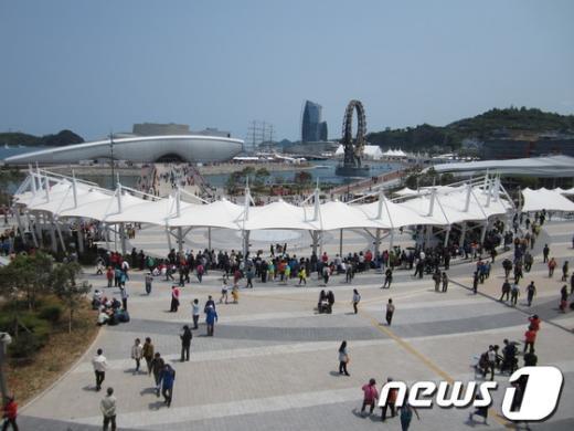 한산한 모습을 보이고 있는 여수박람회장 News1