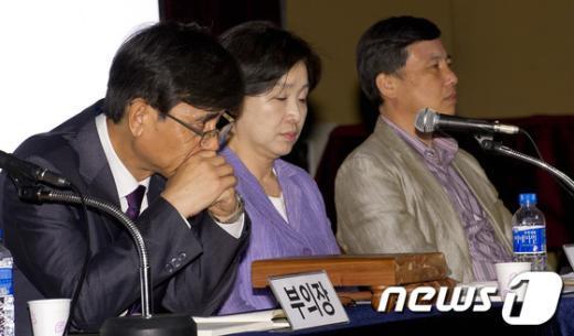 [사진]회의중단에 난감한 통진당 공동대표단