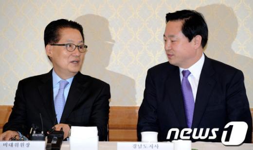 [사진]얘기를 나누는 박지원-김두관