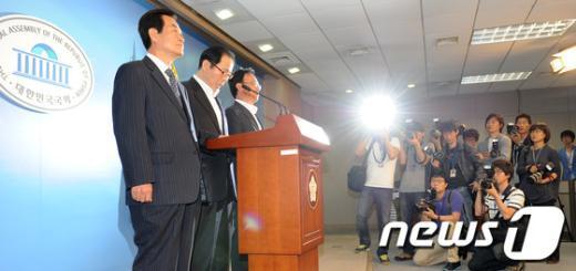 [사진]통합진보당 사태 관련 입장 밝히는 전직 당대표들