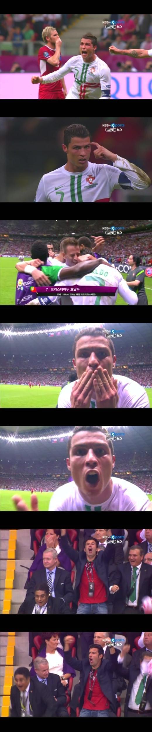 결승골을 넣은 호날두가 기쁨의 골세레모니를 펼치고 있다. 아래에는 이날 경기장을 찾은 포르투갈의 '두 전설적인 영웅' 에우제비오와 루이스 피구.(사진-KBSnsports 중계화면 캡쳐)