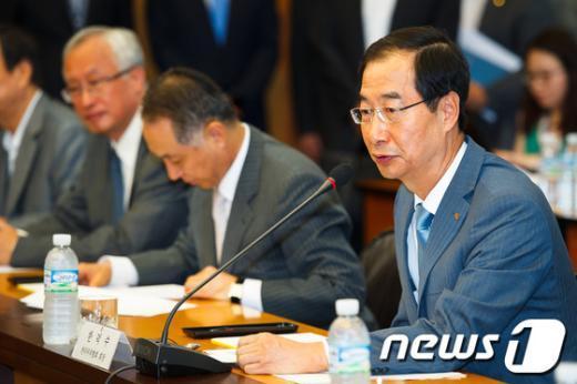 [사진]인사말하는 한덕수 한국무역협회장