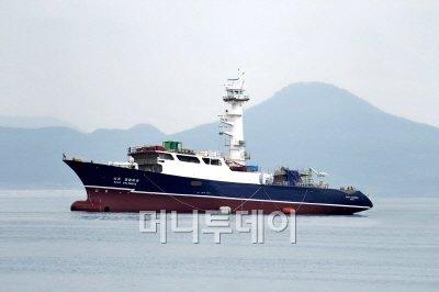 ↑ 이날 성동조선해양이 사조산업에 인도한 참치선망선 '사조 콜롬비아호' 모습.