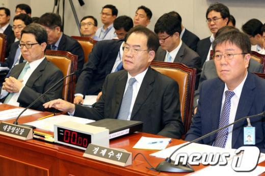 [사진]국회운영위 출석한 청와대 인사들