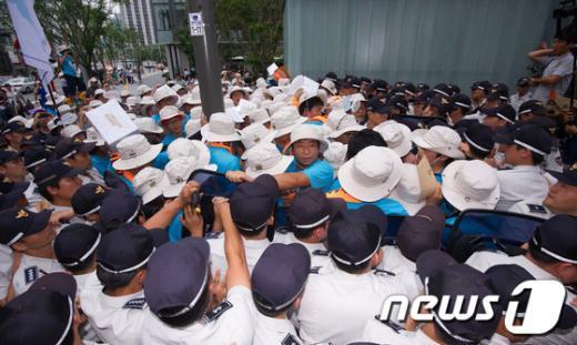 [사진]통일대행진단, '군사협정폐기' 촉구