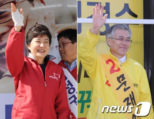 박근혜 새누리당 대선 경선 후보(왼쪽)와 문재인 민주통합당 예비 후보.  News1 양동욱 기자