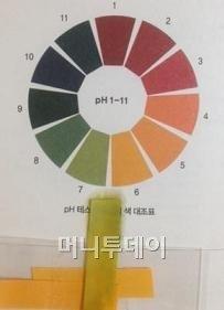 ↑한무영 서울대 교수의 저서 <빗물과 당신> 부록으로 서울시 회현동 한 아파트에서 깨끗한 용기에 빗물을 받아 pH 측정을 한 결과. 이 정도면 산성비라고 할 수 었다. pH7을 기준으로 그보다 낮을 수록 강한 산성이다. ⓒ이경숙 기자