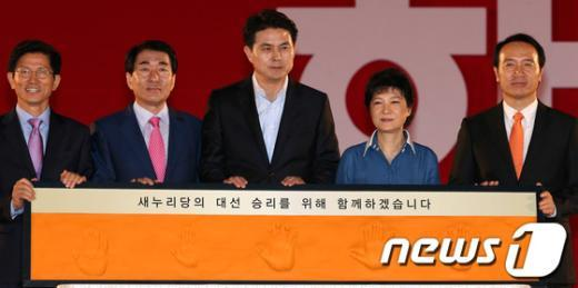 [사진]핸드프린팅 한 다섯 후보들