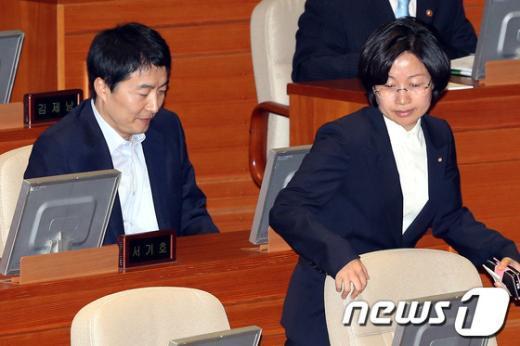 [사진]본회의 참석한 이석기-김미희 의원