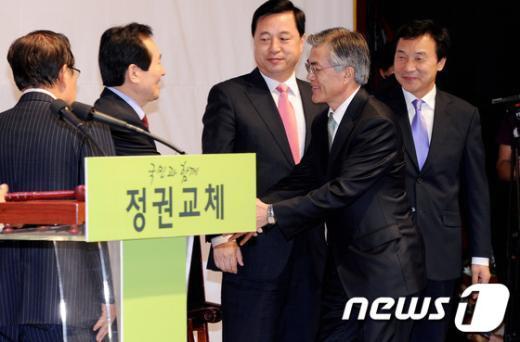 [사진]희비 엇갈린 민주통합당 대선주자들