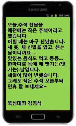 ↑김영식 회장이 추석 전날인 29일 팬카페인 '뚝심카페' 회원들에게 보낸 추석 인사 문자 메시지.