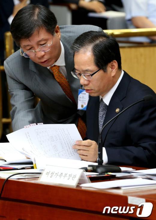 [사진]답변 준비하는 김기용 경찰청장
