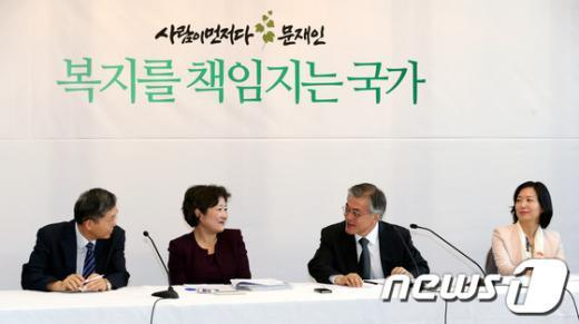 [사진]복지국가위원회 1차회의 참석한 문재인 후보