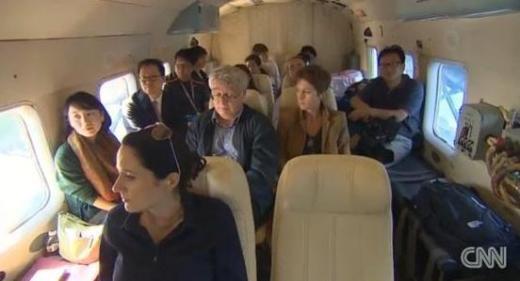 ▲지난 4일 독도를 현장 취재한 외신기자들 (ⓒNews1-CNN 제공)