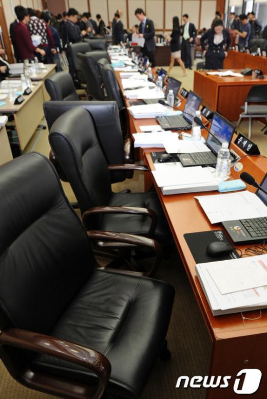[사진]의원들 빈자리만 남은 기획재정위 한국은행 국감