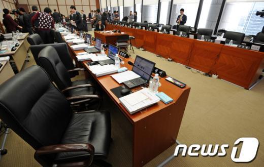 [사진]재벌총수 증인채택 관련 한은 국감 파행