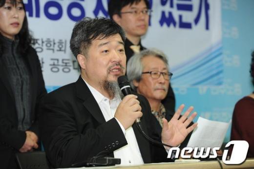 """[사진]한홍구 교수 """"정수장학회 끝장토론하자"""""""