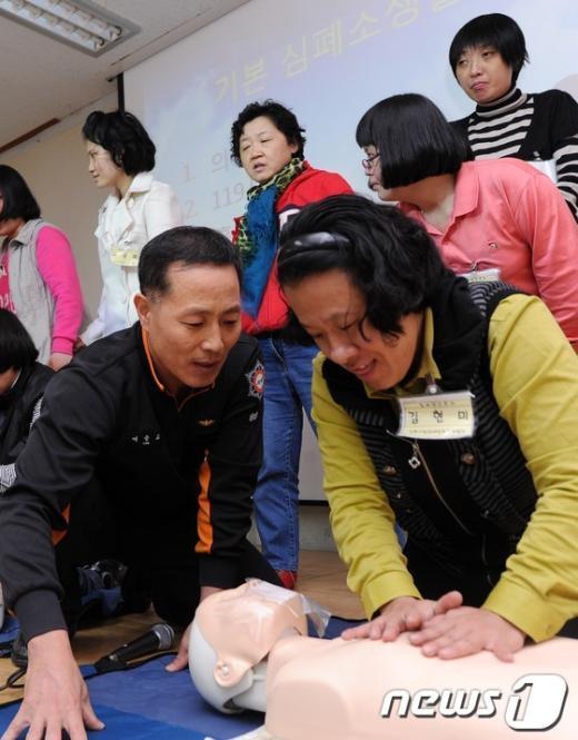 [사진]지적장애인 근로자 대상 심폐소생술 교육