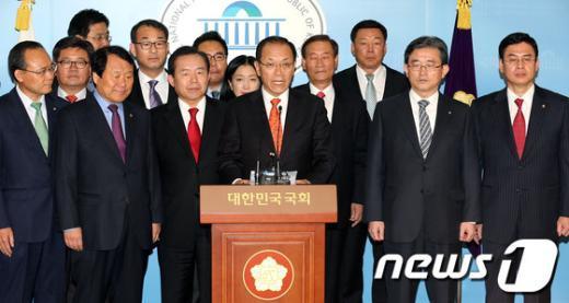 [사진]'새누리-선진' 합당 발표