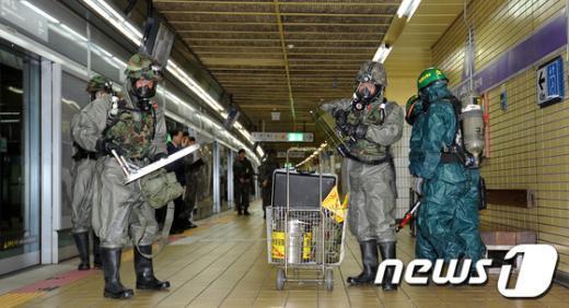 [사진]광나루역, 지하철 테러대비훈련