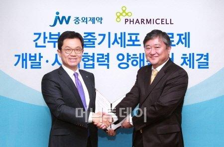 ↑ 이경하 JW중외제약 부회장(사진 좌측)과 김현수 파미셀 사장이 줄기세포치료제 개발과 관련한 MOU를 체결한 다음 악수를 하고 있다.