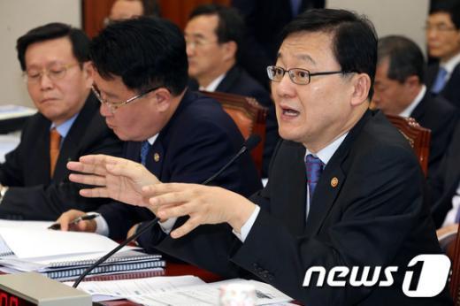 [사진]원전부품 서류위조 사건 관련 답하는 홍석우 장관