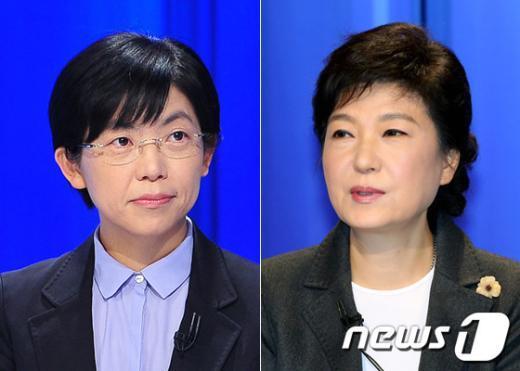 박근혜 새누리당 대통령 후보(오른쪽)와 이정희 통합진보당 후보 News1