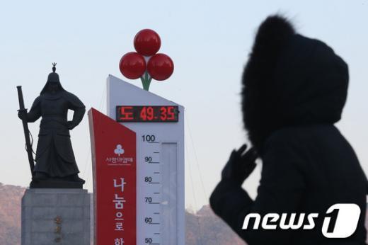24일 오전 서울 광화문광장에 설치된 사랑의 온도탑이 49.35도를 가리키고 있다. '사랑의 온도탑' 수은주는 오전 10시 50.6을 기록하며 50도를 돌파했다.  News1