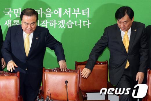 [사진]기자간담회 참석한 문희상-박기춘