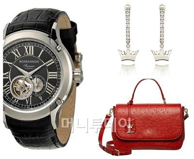↑로만손 시계(사진 왼쪽)와 제이에스티나 귀걸이와 핸드백(오른쪽 상·하단)ⓒ로만손