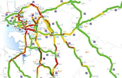 오후 2시 현재 고속도로 교통 상황.  News1