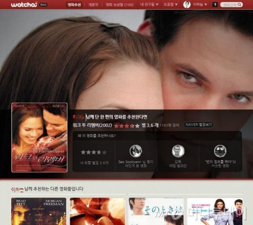 ↑프로그램스가 내놓은 영화추천서비스 '왓챠' 홈페이지 메인 화면. 왓챠는 이용자 개개인마다 각각 차별화된 맞춤형 콘텐츠를 제공한다.