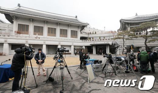 [사진]朴대통령 첫 대국민담화 앞둔 청와대 춘추관