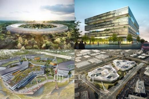 왼쪽 위부터 각각 애플, 삼성, 엔비디아, 구글(시계방향)의 실리콘밸리 신사옥 조감도.