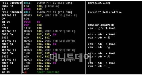 ↑하우리가 분석한 악성코드. 이 코드는 20일 오후 2시부터 작동하도록 사전에 입력됐다.