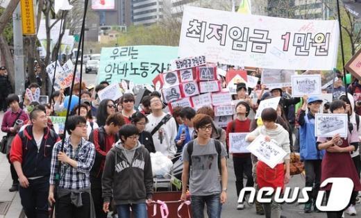 [사진]알바 노동자들의 권리 보장하라!