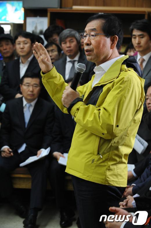 [사진]박원순 시장, 구로구 항동 방문