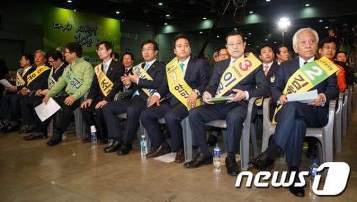 [사진]전당대회 참석한 민주 지도부 후보들