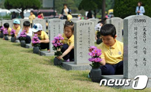 [사진]국립현충원 찾아간 어린이들