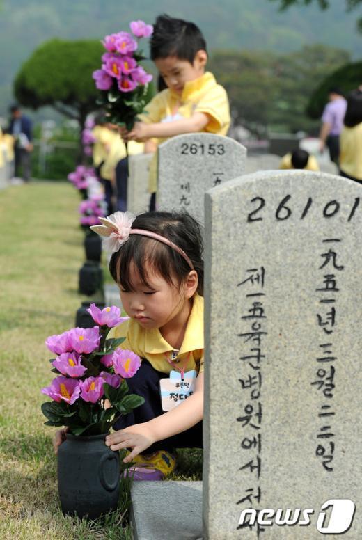[사진]헌화하는 어린이들