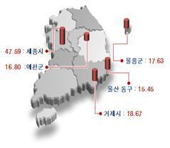 2013 개별지가 상승률 4개지역/제공=국토부