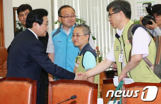 [사진]전병헌, 보건의료노조 면담