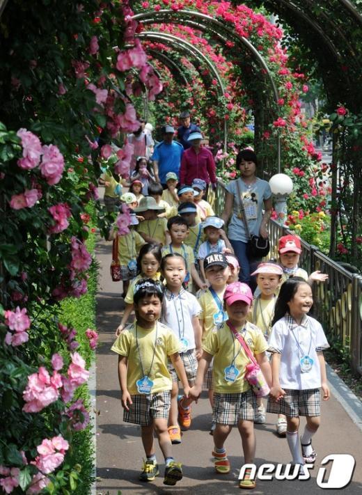 [사진]장미축제가 즐거운 童心