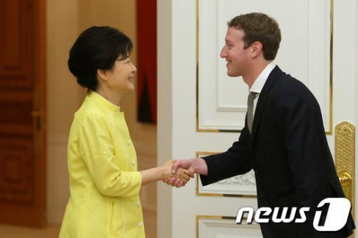 [사진]朴대통령, 마크 저커버그 접견