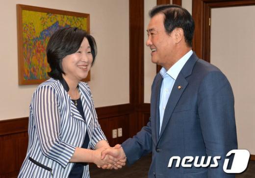 [사진]강창희 국회의장 예방하는 심상정 원내대표